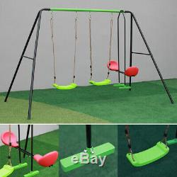 Double Swing Safety Seat Steel Frame Kids Seesaw Set Outdoor Garden Playset Toys