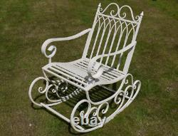 French Rocking Chair Garden Patio Furniture Antique White Shabby Chic Swing Seat