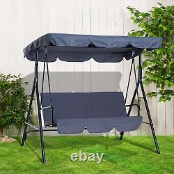 Garden 3 Seater Swing Seat Hammock Grey Canopy Chair Patio Outdoor Balcony Porch