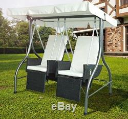 Garden Double Seat Swing Chair Canopy Patio Hammock Furniture Bench Bed Lounger
