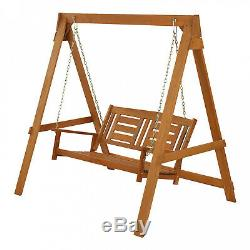 Garden Furniture 2 Seater Wooden Swing Chair Seat Hammock Bench Lounger and