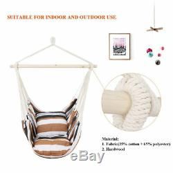Garden Hammock Chair Hanging Rope Swing Seat With2 Cushions Indoor Outdoor Camping