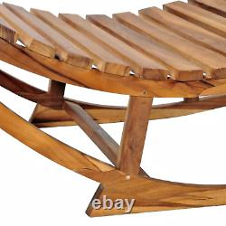 Garden Lounger Chair Vintage Wooden Rocking Outdoor Seat Pool Relaxing Swing NEW