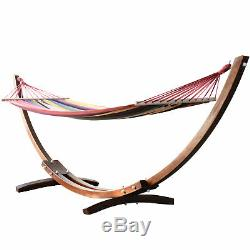 Garden Outdoor Patio Wooden Wood Frame Hammock Arc Stand Sun Swing Bed Seat
