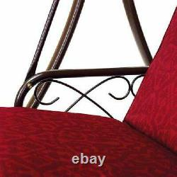 Garden Patio Canopy Porch Swingbed 3 Seat Swing Bed Red Fully Reclining Lie Flat