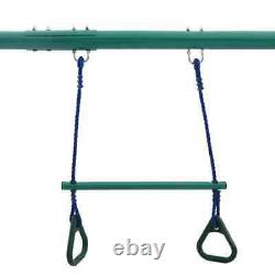 Garden Playground Swing Set Gymnastic Rings and 4 Seats Steel Chair Sky Scooter