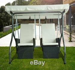 Garden Rattan Swing Chair 2 Seater Cushioned Hammock Bench Seat Lounger Set New