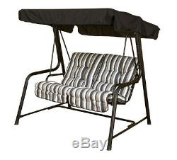 Garden Swing 2 Seat Hammock Outdoor complete with cushions GREEN OR BLACK FRAME
