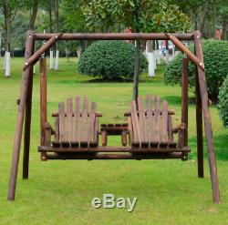 Garden Swing Bench 2-Seater Adirondack Rustic Wooden Seat & Table Furniture