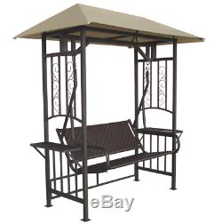 Garden Swing Bench 2-Seater With Side Table & Canopy Rattan Seat Furniture