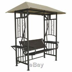 Garden Swing Bench 2-Seater With Side Table & Canopy Rattan Seat Porch Furniture