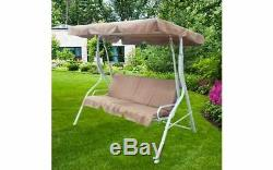 Garden Swing Bench Hammock 3 Seat Cushioned Bed Sun Canopy Outdoor Patio Brown