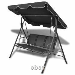 Garden Swing Chair Bench Outdoor Hanging Seat 3 Seater Metal Steel Frame Canopy
