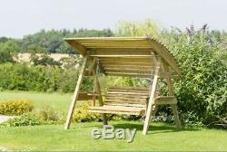 Garden Swing Chair Outdoor Patio Wooden Hanging Seat Bench Lounger Roof Canopy