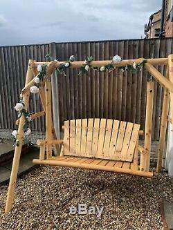 Garden Swing Chair Outdoor Patio Wooden Hanging Seat Bench NEW IN BOX