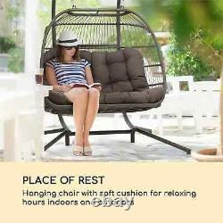 Garden Swing Double Hanging Chair Fold Two-Seater Seat Cushion Solid Dark Grey