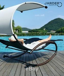 Garden Swing Reclining Seat Patio Double Day Bed Rocking Sun Lounger With Canopy