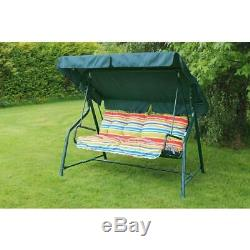 Garden Swing Seat 3 Seater Fete Sun With Canopy Green Comfy Cosy Love Chair New