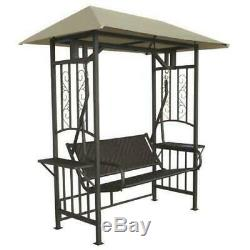 Garden Swing Seat Chair 2 Seater Canopy Metal Stand Hanging Outdoor Lawn Patio