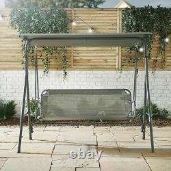 Garden Swing Seat Chair With Canopy 3 Seater Lounger Bench Outdoor Patio Hanging