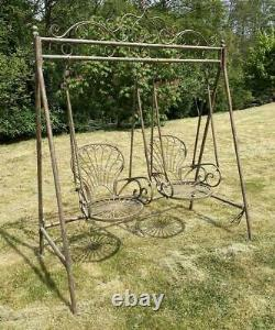 Garden Swinging Double Chair Seat Wrought Iron Outdoor Large 224cm x 178cm