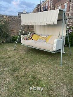 Garden Swinging Seat chair Vintage 1970s Refurbished feather cushions