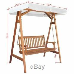 Garden Swinging Wooden Bench Outdoor Patio 2 Seater Wood Chair Canopy Seat Chair