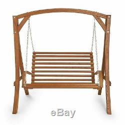 Garden Wooden Swing Chair 2 Seater Larch Wood Seat Hammock Bench Lounger Outdoor