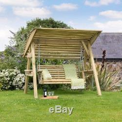 Garden Wooden Swing With Stand Canopy Deck Porch Patio Hanging Bench Seat Chair