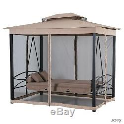 Garden XL Swing Bed With Gazebo Lounge Seat Curtains Relax Outdoor Hammock Chair