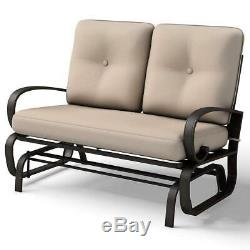 Glider Outdoor Patio Rocking Bench With 2 Cusions Garden Chair Seat Swing Sun