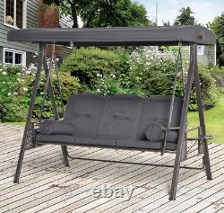 Grey Garden Swing 3 Seat Large Seat Hammock Canopy Hanging Chair Patio Outdoor
