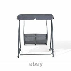 Grey Outdoor Freestanding 2 Seater Swing Seat with Sun Roof Canopy Garden Patio