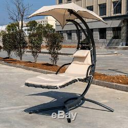 Hammock Chair Outdoor Garden Hanging Chaise Sun Lounge Chair Seat Swing+Canopy