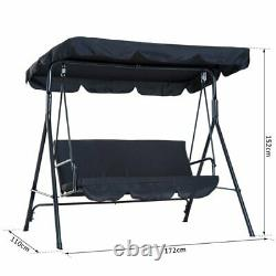 Hammock Swing Chair 3 Seater Patio Bench Garden Porch Seat Convertible Canopy