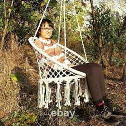 Hanging Hammock Chair Swing Rope Outdoor Garden Seat Lazy Collapsible Beige New