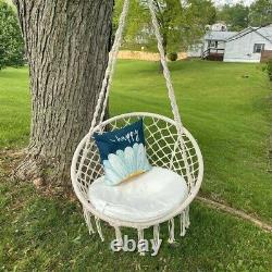 Hanging Macrame Hammock Swing Chair Cotton Rope Seat Garden Yard withwithout Stand