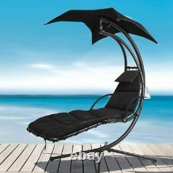 Helicopter Swinging Swing Sun Lounger Hammock Chair Seat Garden Bed Black New