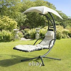Helicopter Swinging Swing Sun Lounger Hammock Chair Seat Garden Bed Cream New
