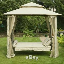 Hollywood Garden Lounger Hanging Swing Seat Hammock And Stand Daybed Metal Beige