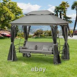 Hollywood Garden Lounger Hanging Swing Seat Hammock And Stand Daybed Metal Grey