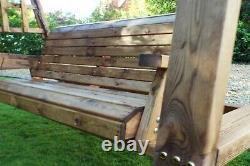 Home Gift Garden 3 Seat Wooden Outdoor Swing with Waterproof Canopy and Cushions