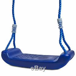 Kids Childrens Blue Plastic Swing Seat Rope Garden Outdoor Climbing Frame Tree