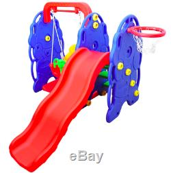 Kids Garden Playground With Swing Seat Slide & Basketball Hoop Child Play Toy
