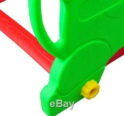 Kids Garden Playground With Swing, Slide And Basketball Hoop-Red/Green Swing Seat
