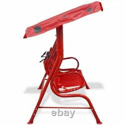 Kids Swing Seat Outdoor Garden Children Hammock Chair with Canopy Red/Green