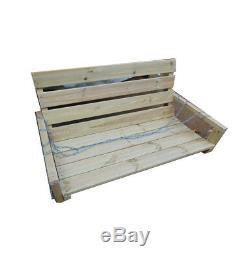 LONG Garden Swing Bench 200cm Long Curved Wooden Seat