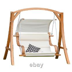 Larch Wood Garden Swing 2 Seat Curved Cushion Hammock Canopy Chair Patio Outdoor