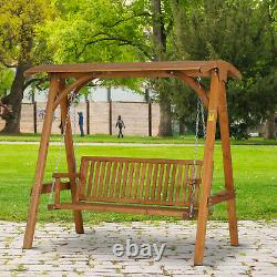 Larch Wood Wooden Garden Swing Chair Seat Hammock Bench Lounger Outdoor 3 Seater