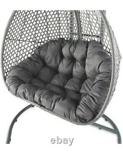 Large Double Hanging Egg Chair Rattan Patio Garden Swing Seat